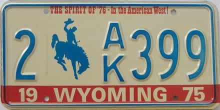 1975 Wyoming (Single) license plate for sale
