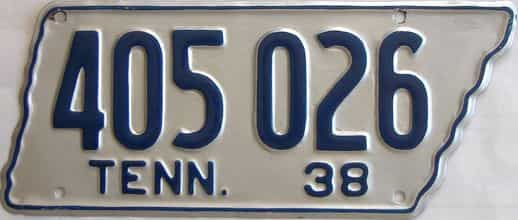 RESTORED 1938 Tennessee (Single) license plate for sale