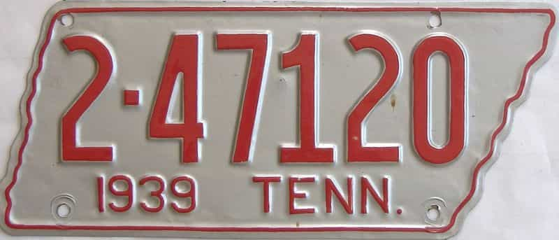 1939 Tennessee (Single) license plate for sale