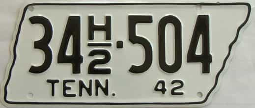 RESTORED 1942 Tennessee (Single) license plate for sale