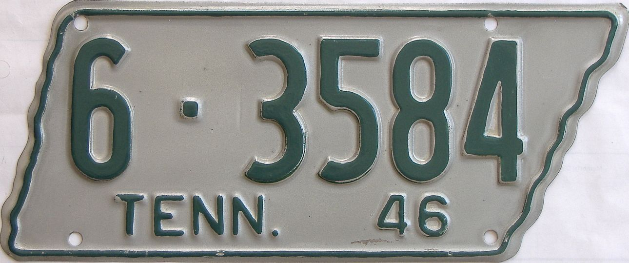 1946 Tennessee (Single) license plate for sale