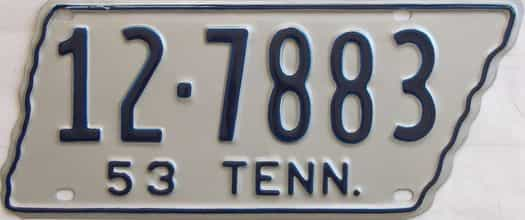 1953 Tennessee (Single) license plate for sale