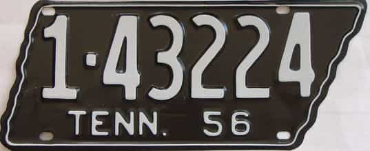 1956 Tennessee (Older Restoration) license plate for sale
