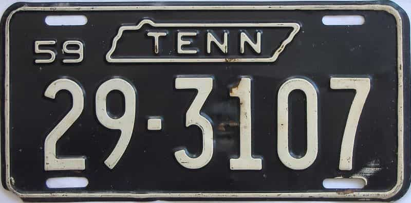 1959 Tennessee (Single) license plate for sale