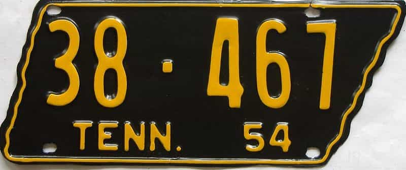 1954 TN (Single) license plate for sale