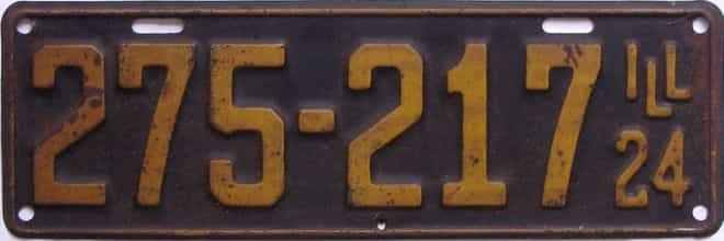 1924 Illinois (Single) license plate for sale