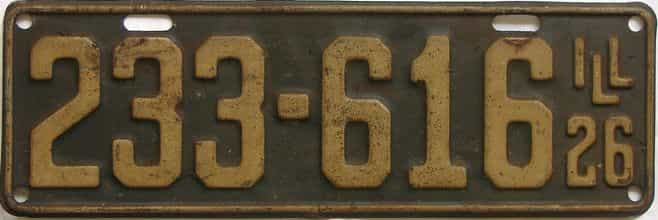 1926 Illinois (Single) license plate for sale