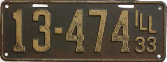 1933 Illinois (Single) license plate for sale