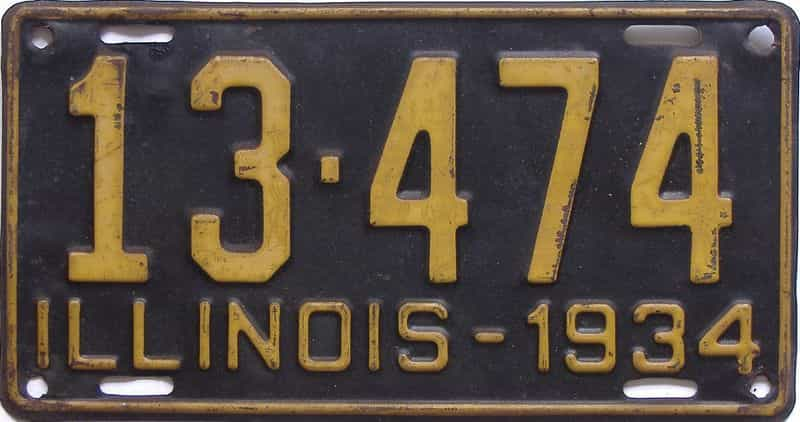 1934 Illinois (Single) license plate for sale