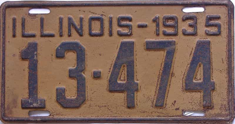1935 Illinois (Single) license plate for sale