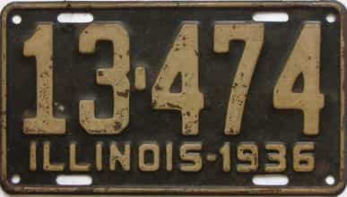 1936 Illinois (Single) license plate for sale