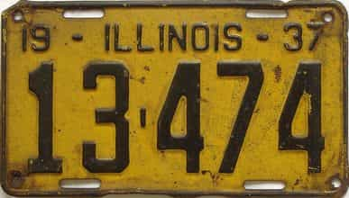 1937 Illinois (Single) license plate for sale