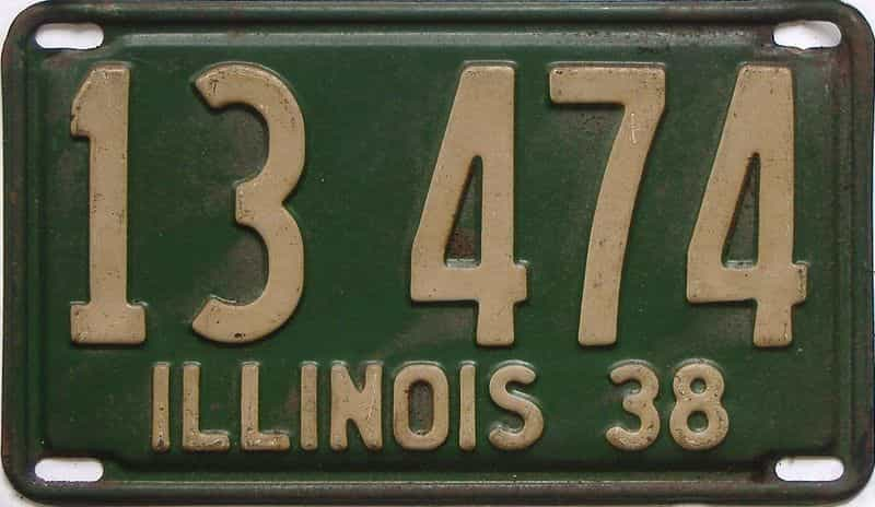1938 Illinois (Single) license plate for sale