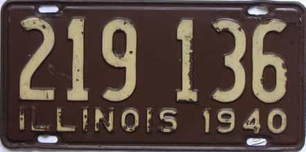 1940 Illinois  (Single) license plate for sale