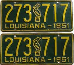 1951 Louisiana  (Pair) license plate for sale