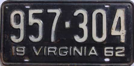 1962 Virginia (Single) license plate for sale
