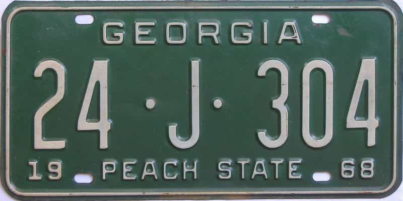 YOM 1968 GA license plate for sale