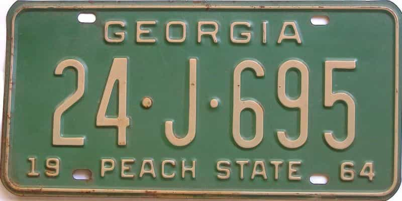 YOM 1964 Georgia (Baldwin) license plate for sale