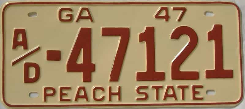YOM RESTORED 1947 GA (Truck) license plate for sale