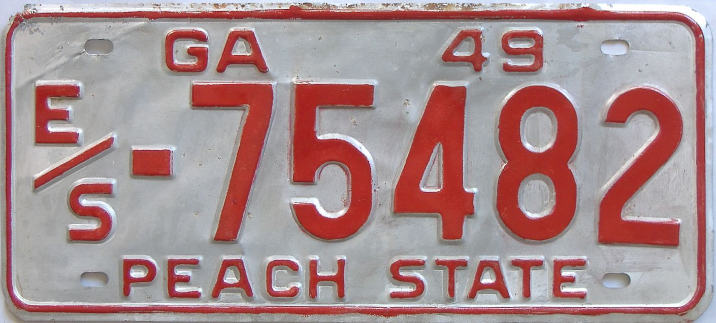 YOM 1949 Georgia license plate for sale