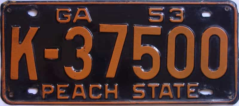 YOM 1953 GA license plate for sale