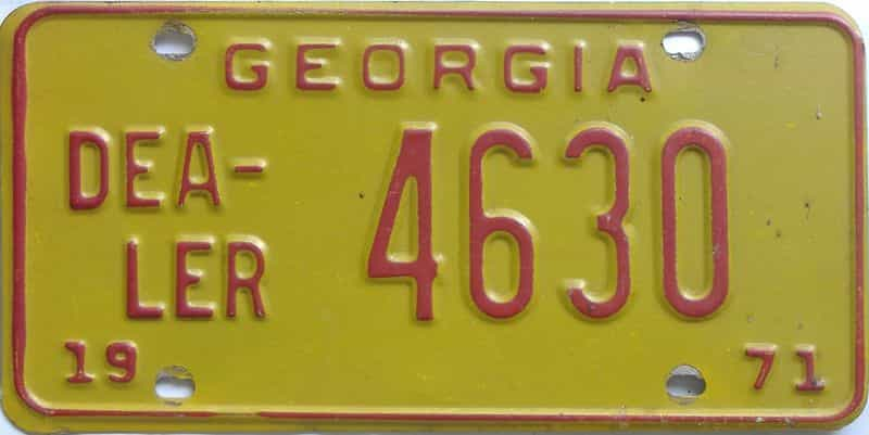 1971 GA (Dealer) license plate for sale