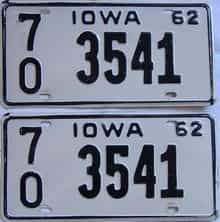 1962 Iowa (Pair) license plate for sale