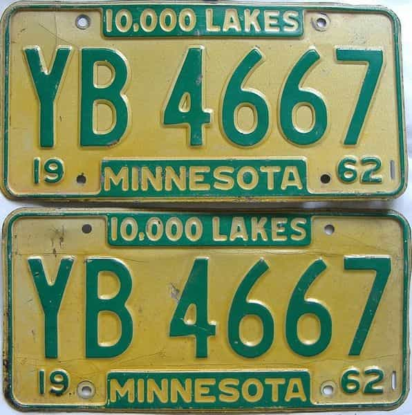 1962 MN (Pair) license plate for sale