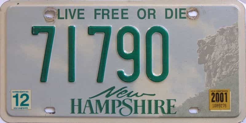 2001 New Hampshire (Single) license plate for sale