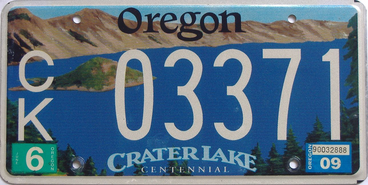2009 OR (Natural Single) license plate for sale