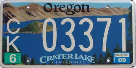 2009 Oregon (Natural Single) license plate for sale