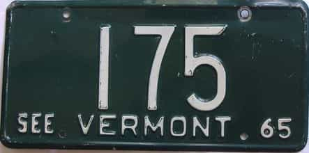 1965 Vermont (Single) license plate for sale