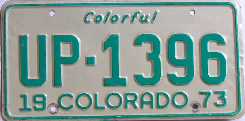 1973 Colorado (Single) license plate for sale