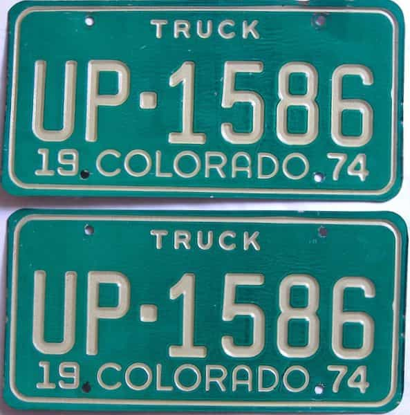 1974 Colorado  (Truck) license plate for sale