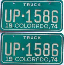 1974 Colorado (Truck) license plate for sale