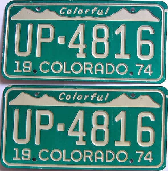 1974 Colorado (Pair) license plate for sale