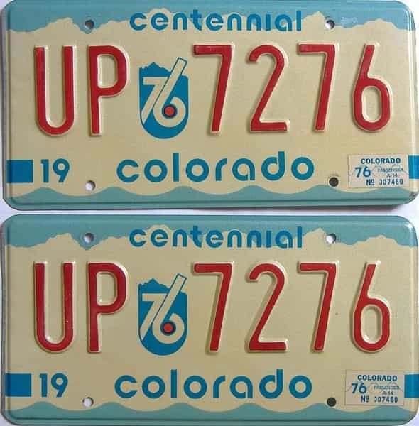 1976 Colorado (Pair) license plate for sale