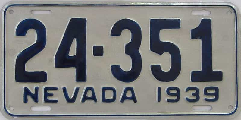 1939 Nevada  (Older Restoration) license plate for sale