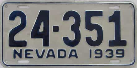 1939 Nevada license plate for sale