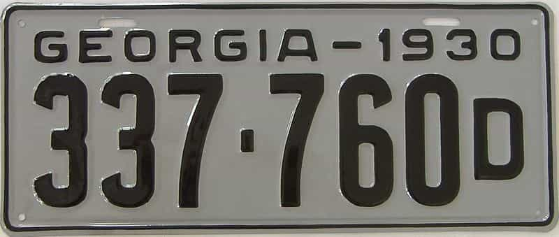 YOM RESTORED 1930 GA (Single) license plate for sale