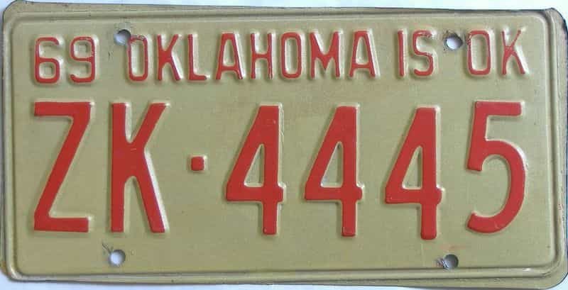 1969 OK license plate for sale