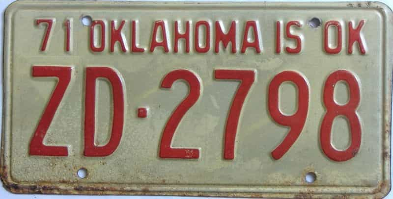 1971 OK license plate for sale