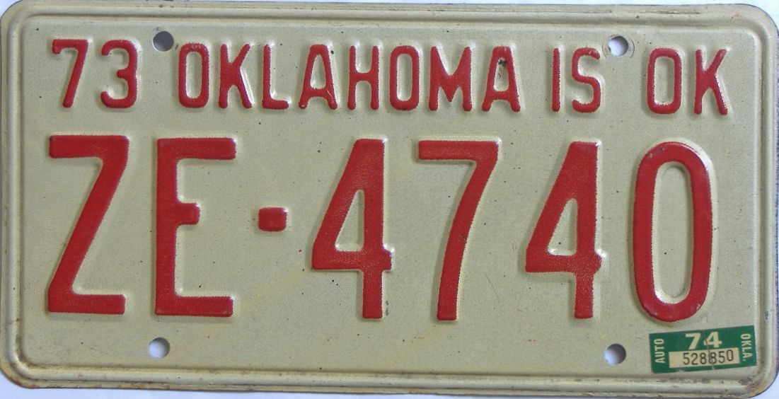 1974 Oklahoma license plate for sale