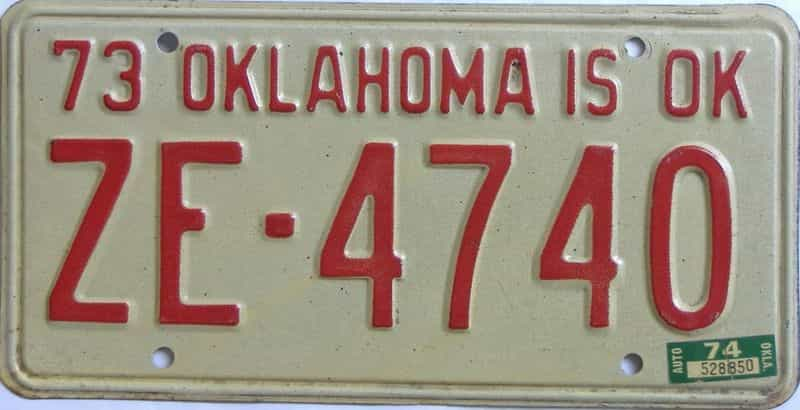 1974 OK license plate for sale