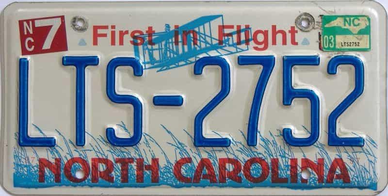 2003 North Carolina license plate for sale