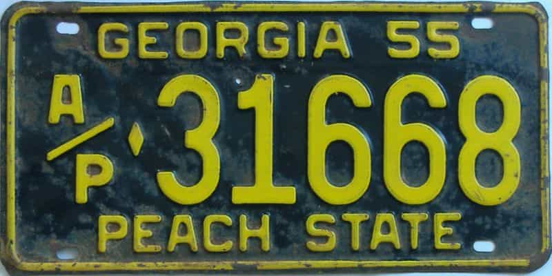 YOM 1955 GA (Truck) license plate for sale