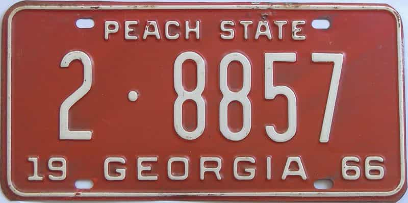 YOM 1966 GA license plate for sale