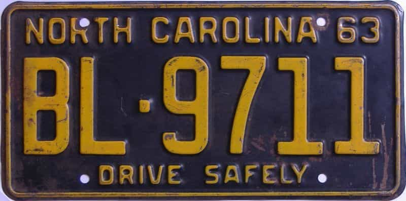 1963 NC license plate for sale