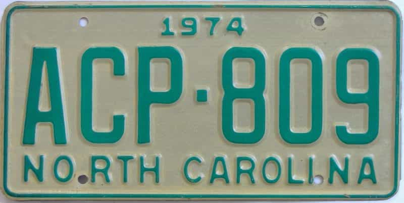 1974 NC license plate for sale