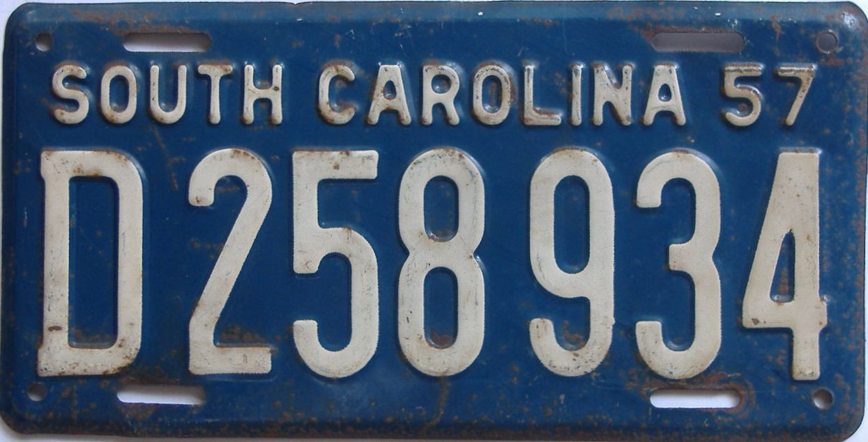 1957 South Carolina (Single) license plate for sale